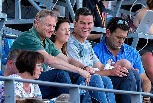 Ireland out-half Jonathan Sexton with his son Luca, wife Laura and Ireland head coach Joe Schmidt at the 2014 Women's Rugby World Cup match between Ireland and New Zealand. Picture credit: Aurélien Meunier / SPORTSFILE