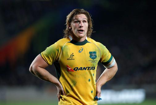 Michael Hooper, captain of Australia's Wallabies, reacts after losing to New Zealand's All Blacks during their second Bledisloe Cup rugby championship match at Eden Park in Auckland