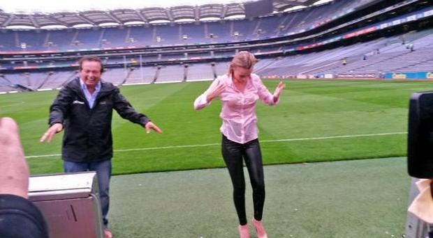 Marty Morrisey laughs after Rachel Wyse's Ice Bucket Challenge