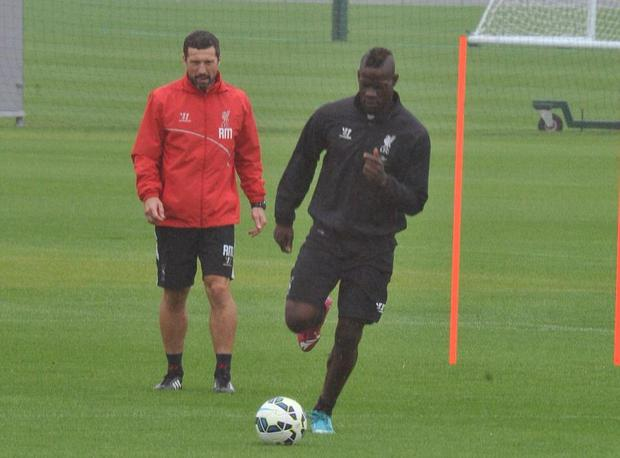 Mario Balotelli was pictured training at Melwood today
