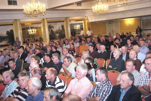 Some of the 250 farmers who witnessed heated scenes at the meeting in Navan