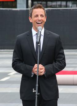 Actor and television host Seth Meyers speaks to the press at the 66th Annual Primetime Emmy Awards press preview day held at the Nokia Theatre L.A. Live on August 20, 2014 in Los Angeles, California. (Photo by Mark Davis/Getty Images)