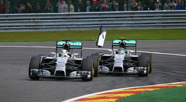 Nico Rosberg is set to be disciplined for the collision that forced his Mercedes teammate Lewis Hamilton to retire from the Belgian Grand Prix. Photo: Clive Mason/Getty Images