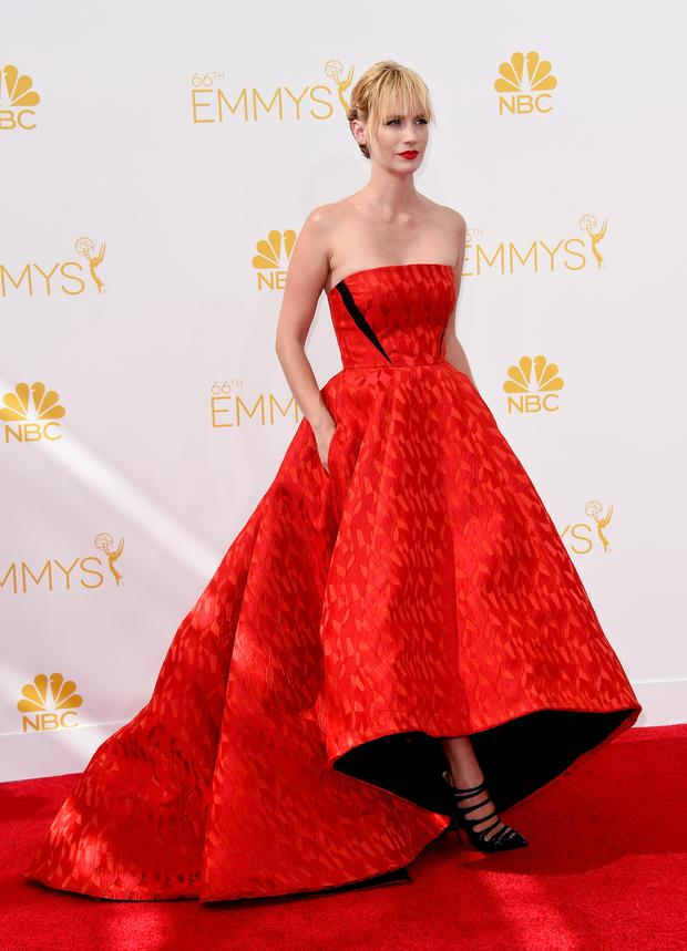 Actress January Jones attends the 66th Annual Primetime Emmy Awards