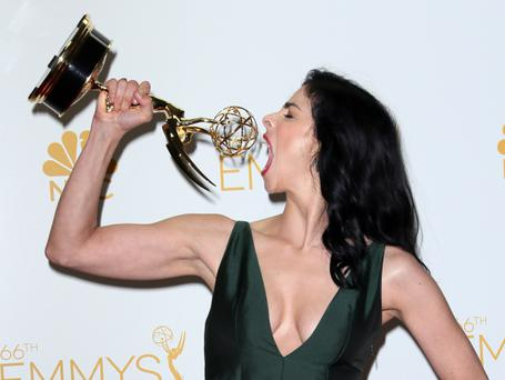 LOS ANGELES, CA - AUGUST 25: Writer/actress Sarah Silverman poses in the press room at the 66th Annual Primetime Emmy Awards at the Nokia Theatre L.A. Live on August 25, 2014 in Los Angeles, California. (Photo by David Livingston/Getty Images)