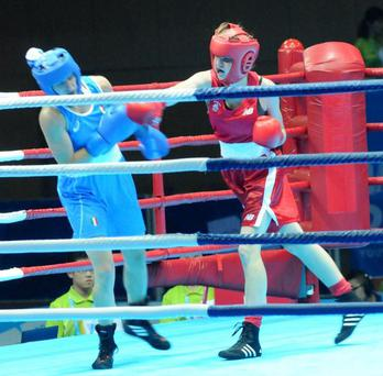 Ciara Ginty (in red) in action in Nanjing