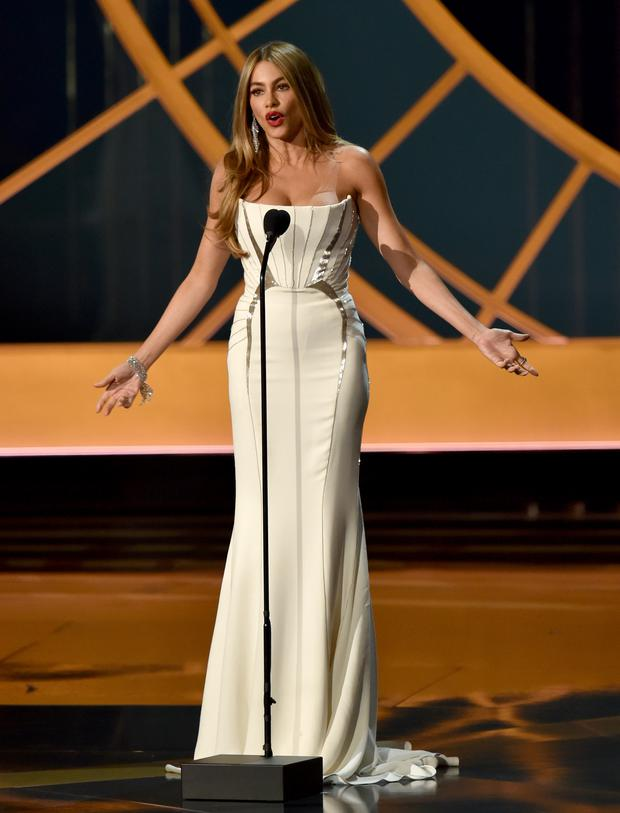 LOS ANGELES, CA - AUGUST 25: Actress Sofia Vergara speaks onstage at the 66th Annual Primetime Emmy Awards held at Nokia Theatre L.A. Live on August 25, 2014 in Los Angeles, California. (Photo by Kevin Winter/Getty Images)