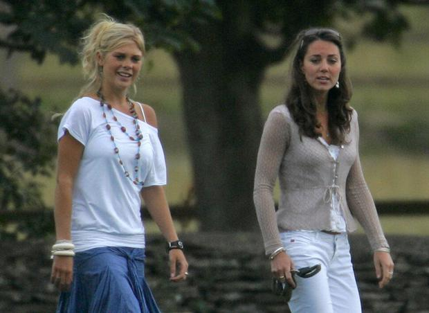 Chelsy Davy and Kate Middleton watch Prince Harry and Prince William play in a charity polo match in 2006.