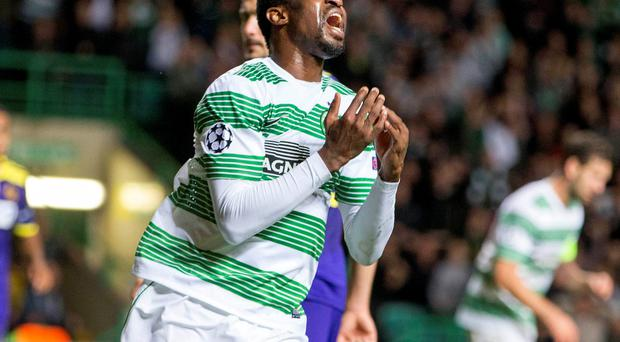 Celtic's Efe Ambrose reacts during the UEFA Champions League Qualifying Play Off, second leg match at Celtic Park