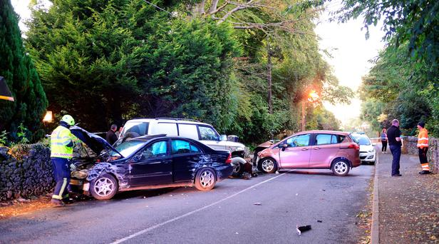 Stolen car collided with another vehicle in Termonfeckin Co Louth. Pic Ciara Wilkinson.