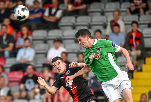 Brian Lenihan in action against Steven Beattie, Bohemians
