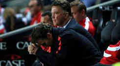 Manchester United Manager Louis van Gaal shows his dejection defeat to MK Dons during the Capital One Cup Second Round match at Stadium:mk