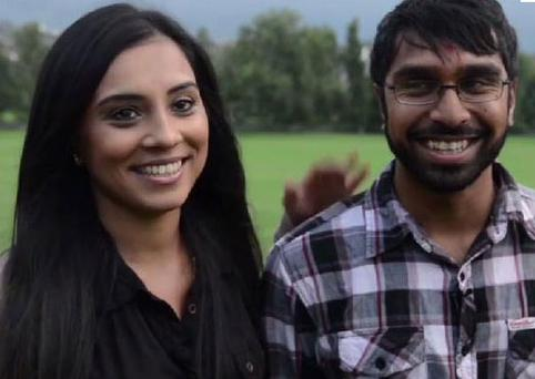 Utpal Kanbia and Meena Rabadia after their engagement in a London park