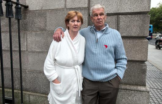 Violet & Martin Coyne outside the Four Courts Dublin. Photo: Gareth Chaney Collins