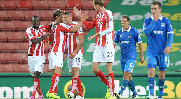 Stoke City's Jonathan Walters celebrates scoring against Portsmouth, during the Capital One Cup Second Round match at the Britannia Stadium