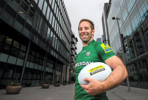 Tomas O'Leary at the launch of a new marketing partnership between Setanta Sports and London Irish. Photo: INPHO/Cathal Noonan