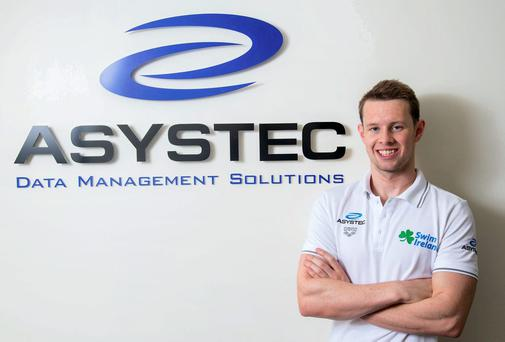 18.08.14 NO REPRO FEE Chris Bryan, Open Water Swimmer pictured in Limerick at the recent announcement of exclusive sponsorship by leading data Management solutions company, Asystec, of Ireland Open Water Swimmer, Chris Bryan. The sponsorship will fund training and global competitions for 18 months, and will support his ambition to compete at the Rio Olympics 2016. Picture: Alan Place. For further information contact: Renate Murphy CAMEO Communications Tel: 021.4320067 / 086.8145462 Web: www.cameo.ie