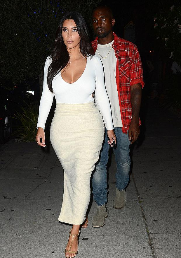 Kim Kardashian and Kanye West at dinner in LA last night