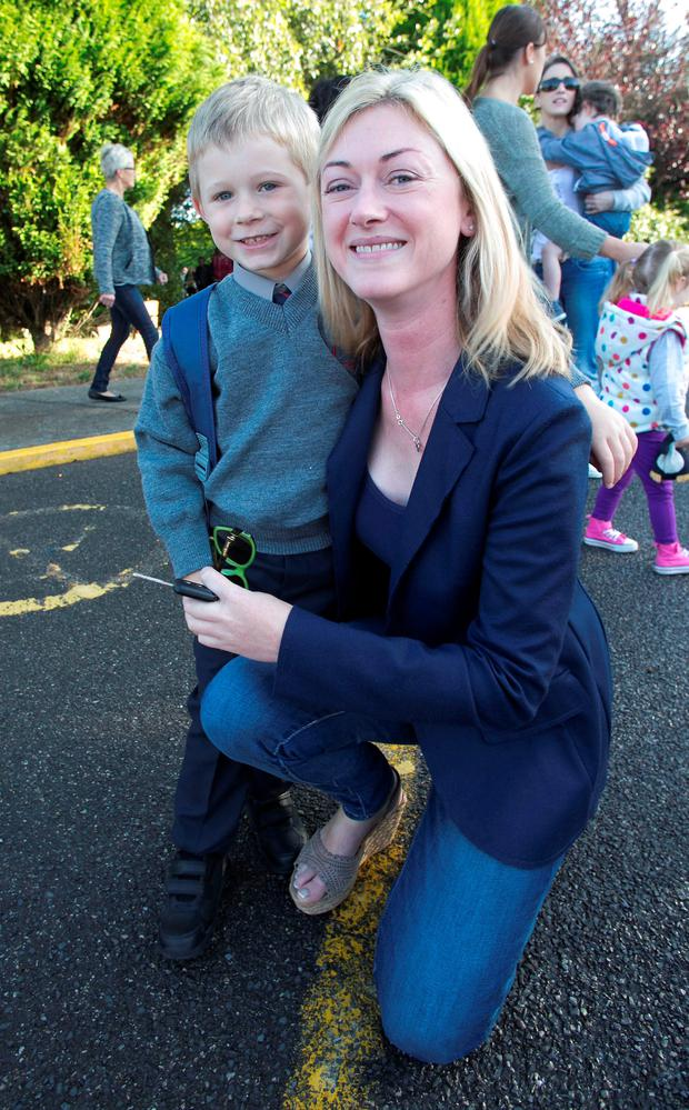 Alex Mc Evoy with her Son Killian Anelli (4) on his first day at school at the Holy Family in Rivervalley Swords