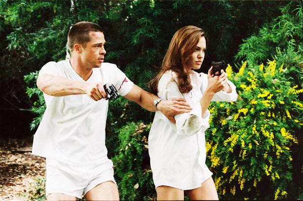Brad Pitt and Angelina Jolie in the movie-Mr. and Mrs. Smith