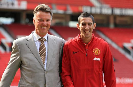 Manchester United manager Louis van Gaal with Angel di Maria at Old Trafford today.