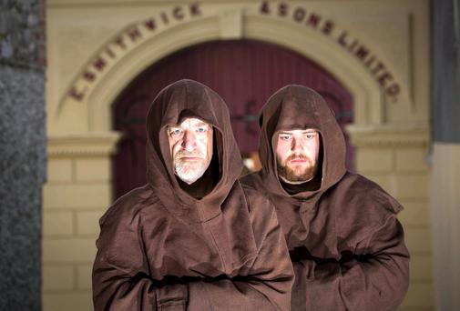 Franciscan monks, played by actors Patrick Moylan and Thomas Doran took a step back in time to 1231 to commemorate the medieval origins of brewing on the site of the Abbey of St. Francis