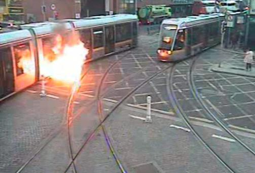 A worn hydraulic cable caused a flash fire on board a Luas tram last November