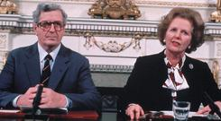 Margaret Thatcher and Garrett Fitzgerald sign the Anglo Irish agreement