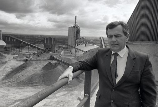 Sean Quinn overlooking his quarry at Derrylin, Co.Fermanagh in 1986