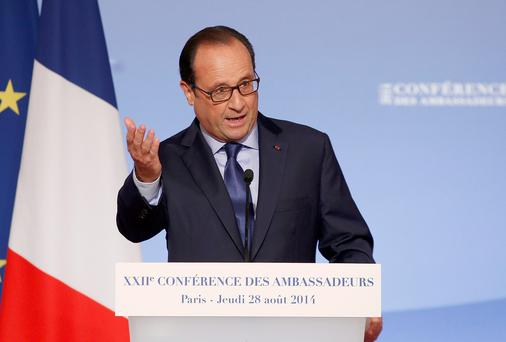 French President Francois Hollande delivers a speech during the annual Conference of Ambassadors at the Elysee Palace in Paris August 28, 2014