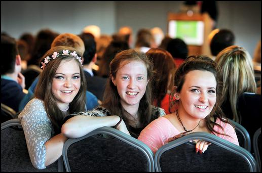 Pictured at the UNESCO Symposium on Youth Civic Engagement and Leadership through Sport and Recreation at Croke Park was Foroige delegates Natalie Ward (16) from Mullingar, Anna Rose Kennedy (18) from Shillelagh Wicklow and Rowena Malee (17) from Kiltimagh Mayo.