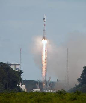 European Space Agency (ESA) photograph of the medium-lift VS07 Soyuz rocket lifting off from its launching pad in Kourou, French Guiana, last week.