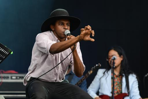 SOUTHWOLD, ENGLAND - JULY 20: Ahmed Gallab aka Sinkane of the band Atomic Bomb! Who is William Onyeabor performs on stage during Latitude Festival 2014 at Henham Park Estate on July 20, 2014 in Southwold, United Kingdom. (Photo by Andy Sheppard/Redferns via Getty Images)