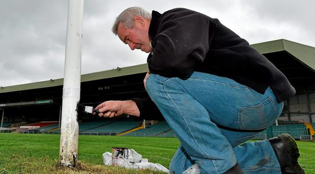 BRUSHING UP FOR MAYO AND KERRY: Groundsman Eugene Griffin puts the final touches to preparations at Limerick's Gaelic Grounds ahead of today's clash between Kerry and Mayo. Picture credit: Diarmuid Greene / SPORTSFILE
