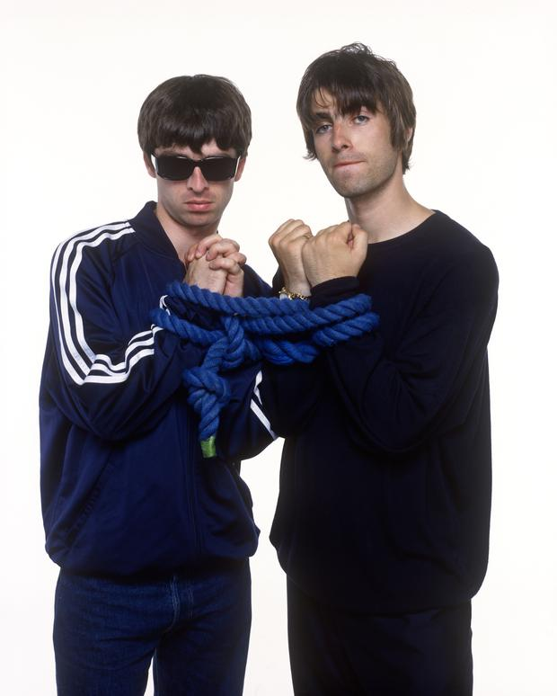 Portrait of Noel and Liam Gallagher of English rock band Oasis photographed at Holborn Studios in London in 1994. Job: 74092 Ref: BMN - Exclusive (Photo by Photoshot/Getty Images)