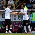 Manchester United's Anderson replaces Manchester United's Angel Di Maria during the Barclays Premier League match at Turf Moor