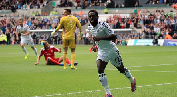 Swansea City's Nathan Dyer celebrates scoring the opening goal against West Brom at the Liberty Stadium