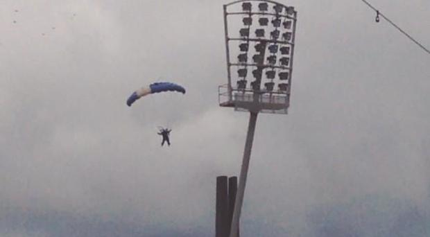 The skydiving mishap today prior to the Croke Park Classic