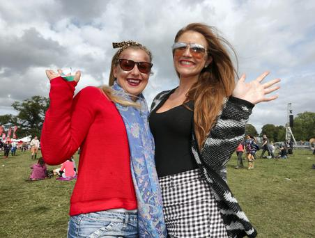 Gaby Skelton, right, and Victoria Brickenden from Dublin at the last day of the Electric Picnic Music Festival at Stradbally, Co. Laois. Picture credit; Damien Eagers 31/8/2014