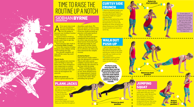 These exercises are designed to work as many body parts as possible and raise the heart rate