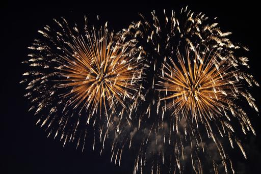 Fireworks in night sky (Stock photo)