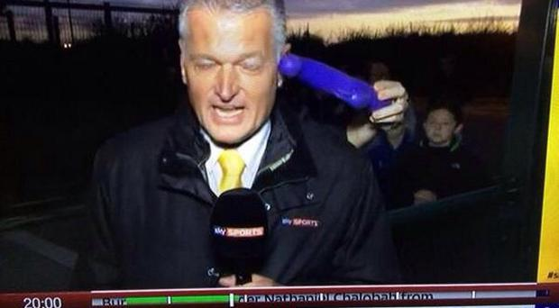 Sky Sports reporter Alan Irvine is hit with a sex toy during a live broadcast on Transfer Deadline Day last September.