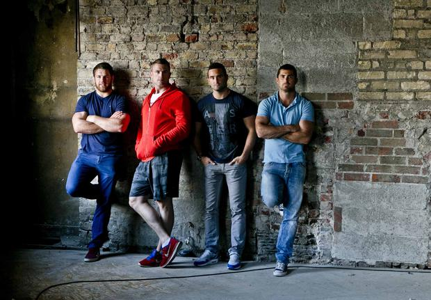 Bellamy's becomes The Bridge 1859. Pictured are its new owners, Ireland and Leinster Rugby players Sean O'Brien, Jamie Heaslip, Rob Kearney and Dave Kearney. Photo Leon Farrell/Photocall Ireland