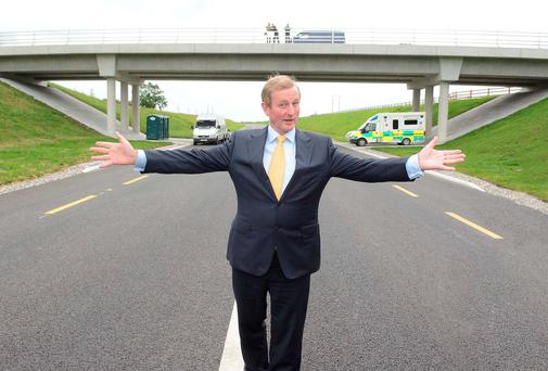An Taoiseach, Enda Kenny at the official opening of the Ballaghaderreen By Pass in Co. Roscommon yesterday. Photo: Mick McCormack.