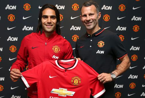 New Manchester United striker is welcomed to the club by assistant manager Ryan Giggs