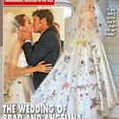 The wedding of Angelina Jolie and Brad Pitt featured on the front page of Hello! magazine