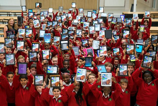 Picture shows one hundred and forty first year students at Luttrellstown Community College who received their Wriggle 'digital' schoolbags yesterday