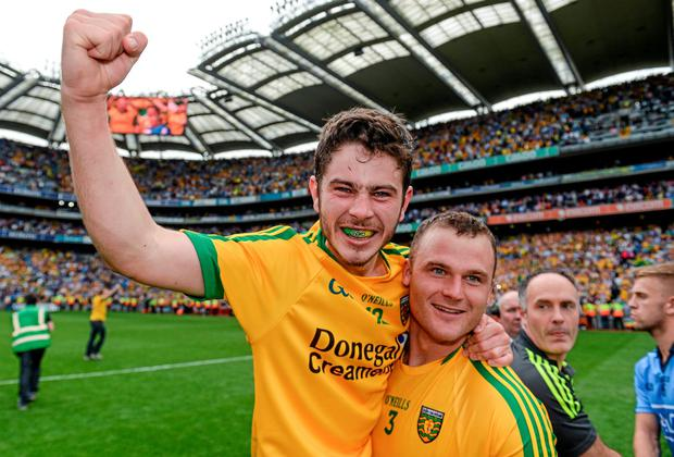 31 August 2014; Ryan McHugh, left, and Neil McGee, Donegal, celebrate their side's victory. GAA Football All Ireland Senior Championship, Semi-Final, Dublin v Donegal, Croke Park, Dublin. Picture credit: Stephen McCarthy / SPORTSFILE