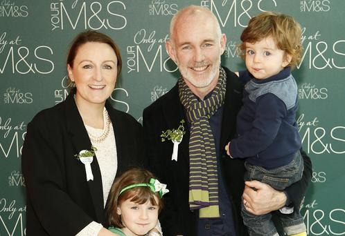 Ray D'Arcy with his wife Jenny, daughter Kate, and son Tom at the Marks & Spencer St Patrick's Day Breakfast. Picture: Kieran Harnett