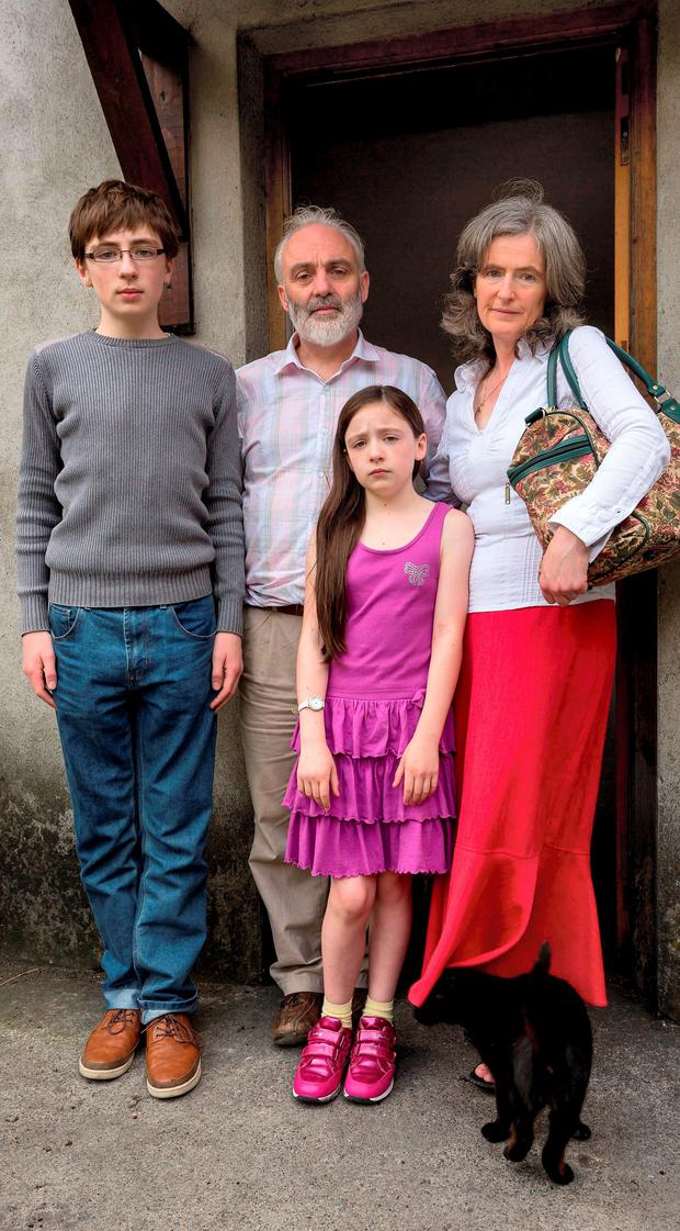 Eddie O'Neill and Monica O'Connor with their kids Oran (13) and Elva (10) at their home near Tullow Co. Carlow